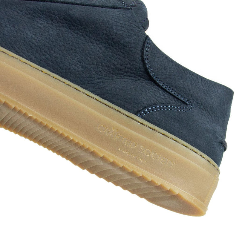 Mario Low Refined Sneaker - Navy Nubuck / Gum Rubber Outsole - Handcrafted in Italy
