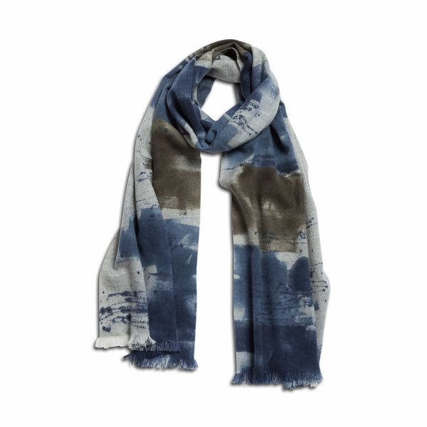 Marco Scarf – Handpainted - 100% Cashmere - Grey & Blue - Handcrafted in Italy