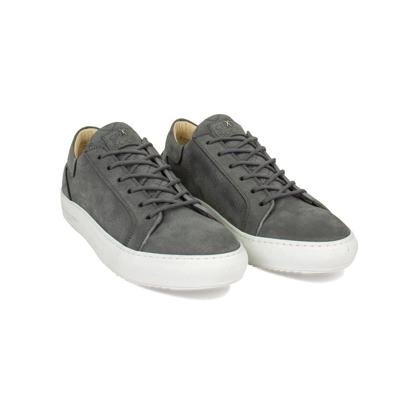 Mario Low Refined Sneaker - Dark Grey Nubuck / White Outsole - Handcrafted in Italy