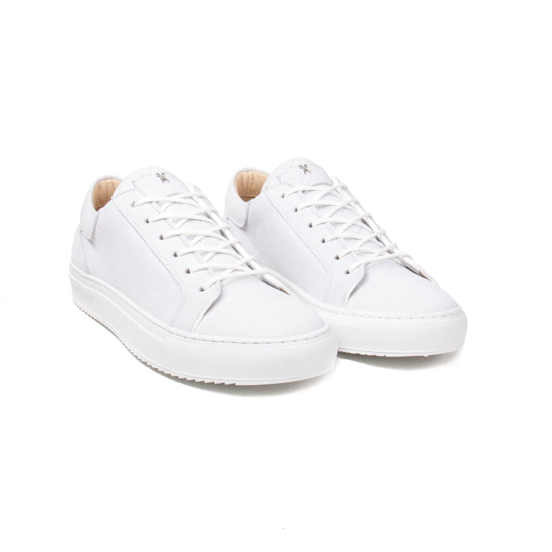 Mario Low Refined Sneaker - White Nubuck / White Rubber Outsole - Handcrafted in Italy