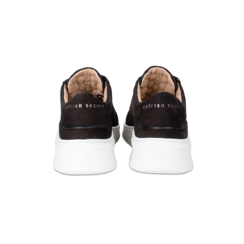 Matteo Low Sneaker All Black Nubuck calf Leather White Outsole Backview