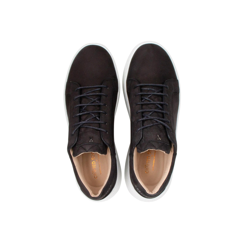 Matteo Low Sneaker All Black Nubuck calf Leather White Outsole Above