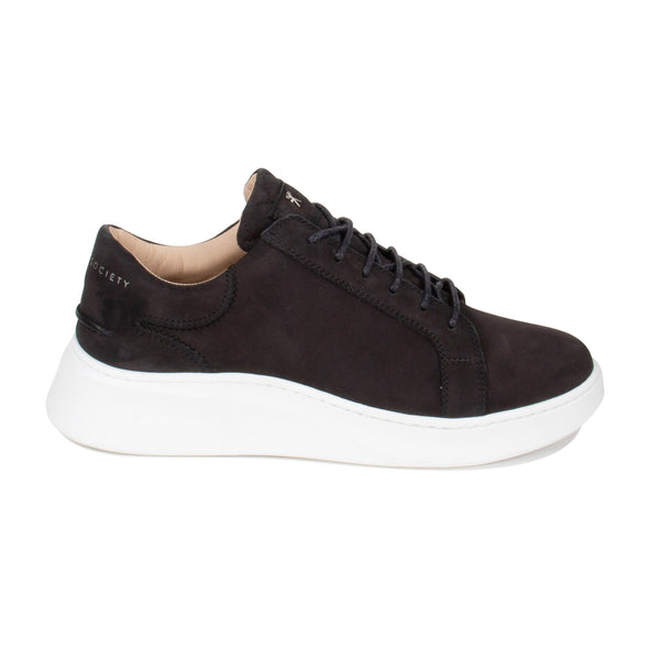 Matteo Low Sneaker All Black Nubuck calf Leather White Outsole Sideview