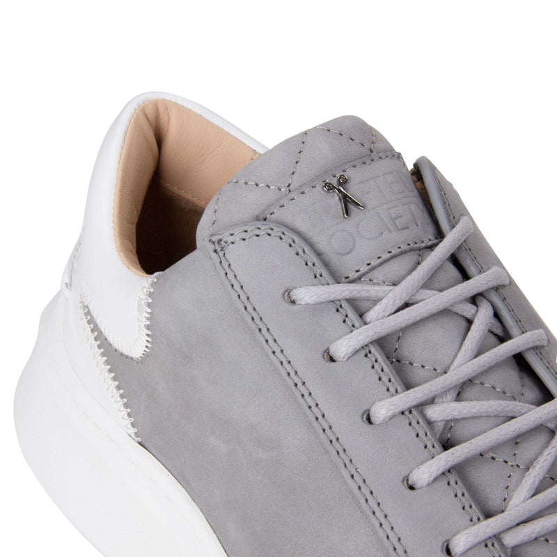 Matteo Low Sneaker - Grey Nubuck & White Full Grain Leather / White Outsole