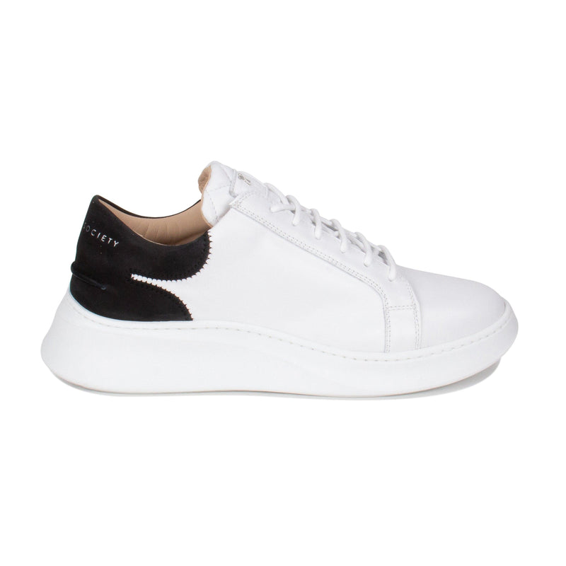 Matteo Low Sneaker - White & Black Full Grain Leather / White Outsole