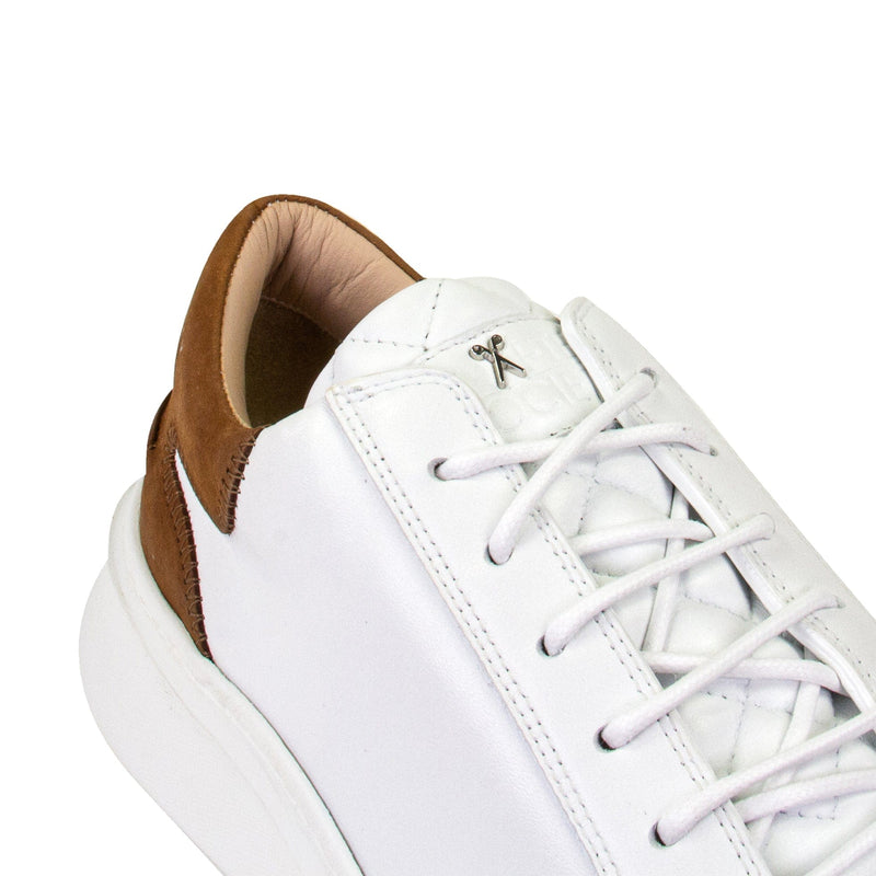 Matteo Low Sneaker - White & Brown Full Grain Leather / White Outsole