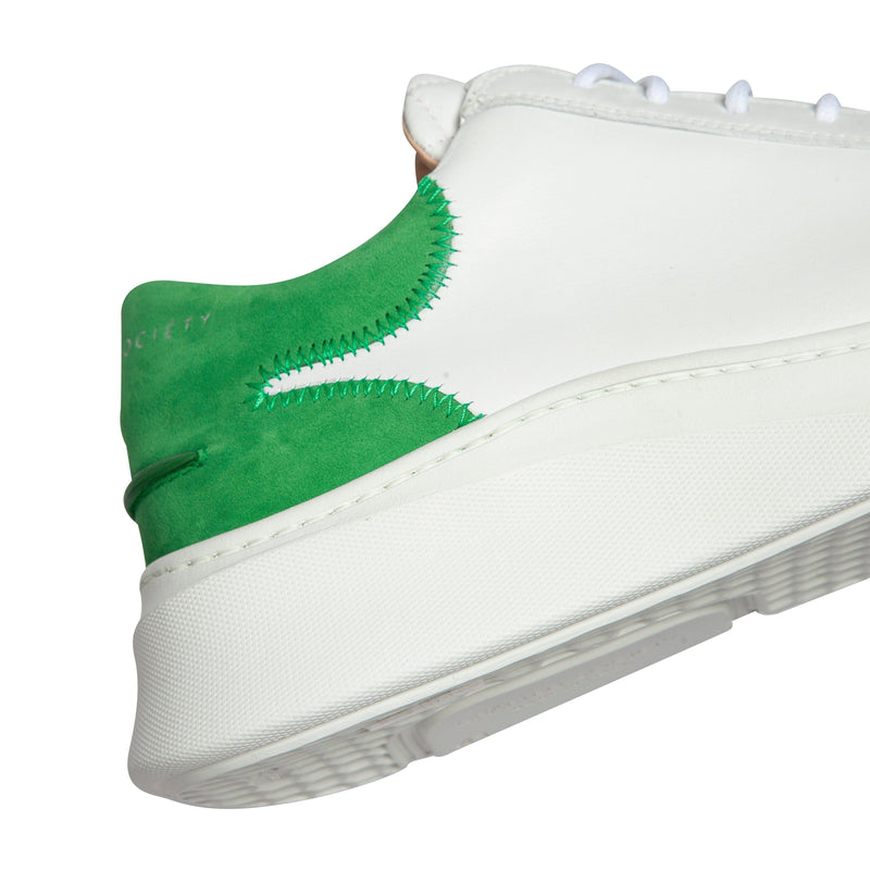 Matteo Low Sneaker - White & Green Full Grain Leather / White Outsole
