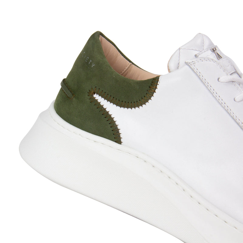 Matteo Low Sneaker - White & Olive Full Grain Leather / White Outsole