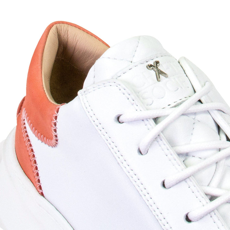 Matteo Low Sneaker - White & Rose Full Grain Leather / White Outsole