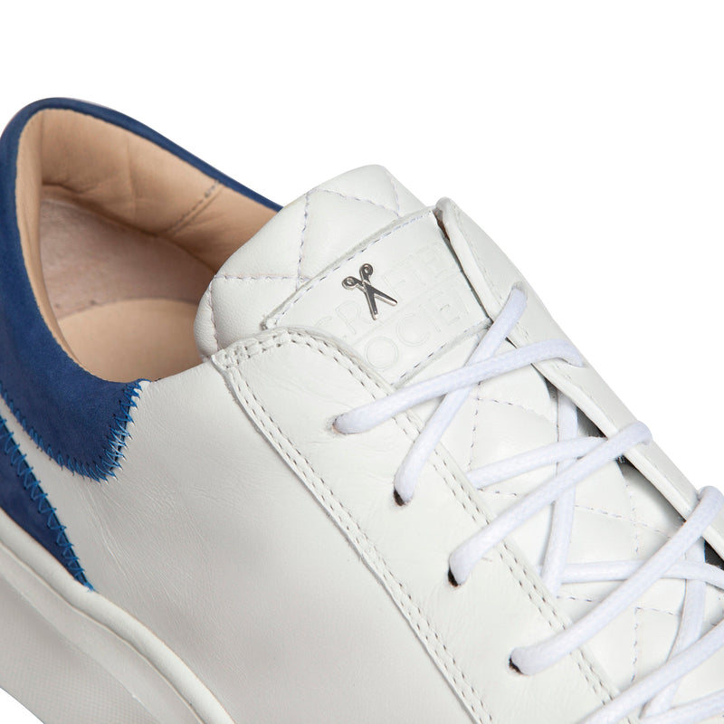 Matteo Low Sneaker - White & Royal Blue Full Grain Leather / White Outsole