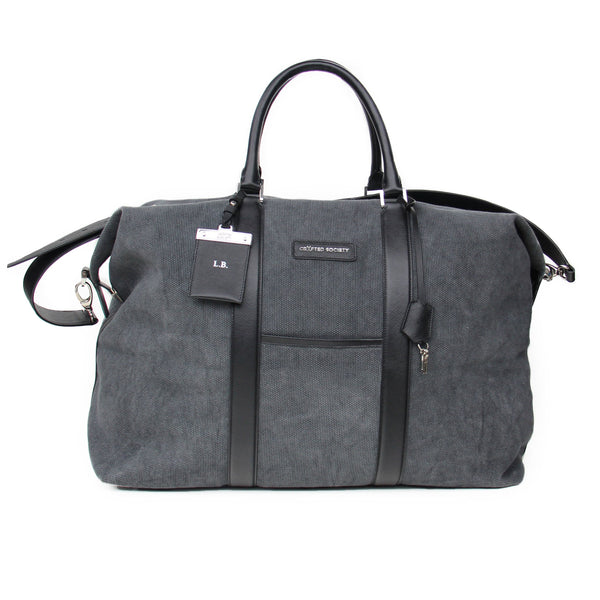 Nando Weekender Bag - Anthracite Canvas & Black Saffiano Leather - Handcrafted in Italy