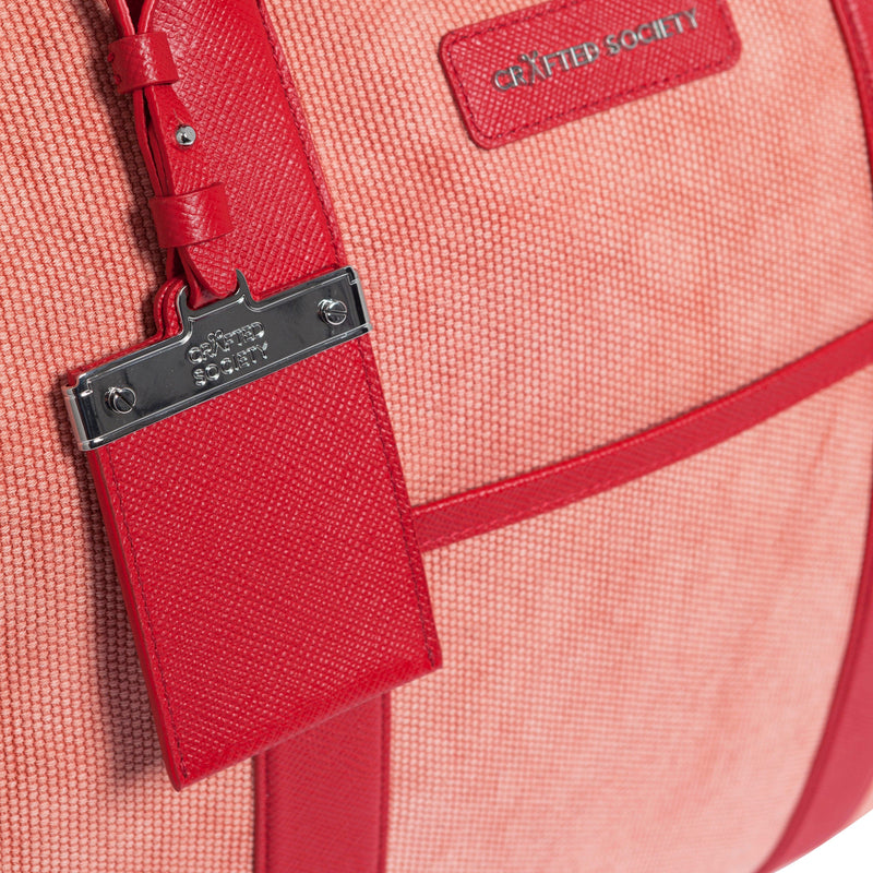Nando Weekender Coral Canvas & Red Saffiano Leather Luggage Tag