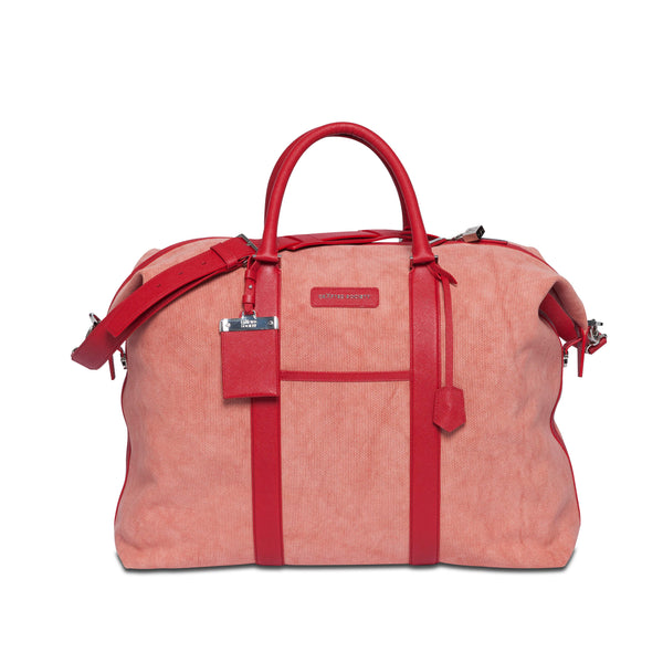 Nando Weekender - Coral Canvas & Red Saffiano Leather - Sideview