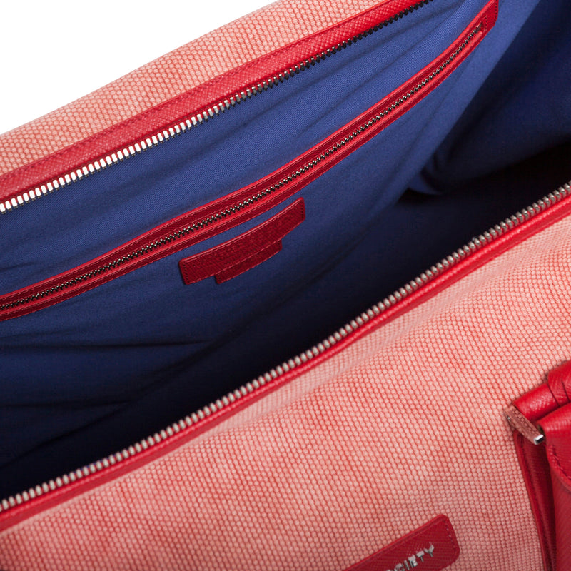 Nando Weekender Coral Canvas & Red Saffiano Leather Insideview