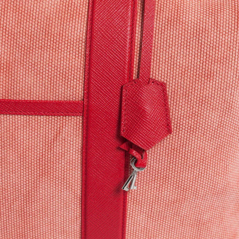 Nando Weekender Coral Canvas & Red Saffiano Leather Detailview