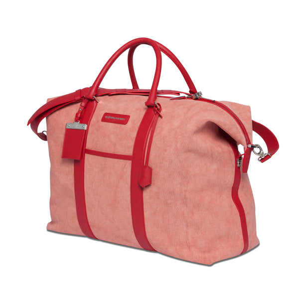 Nando Weekender Coral Canvas & Red Saffiano Leather