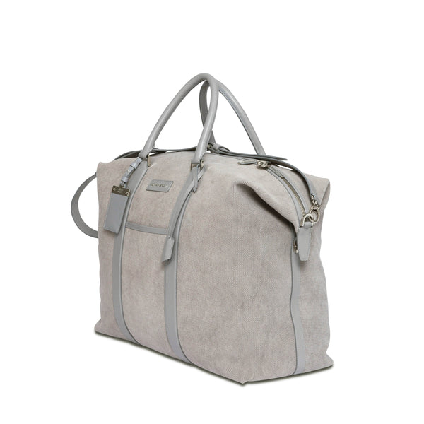 Nando Weekender Bag - Light Grey Canvas & Light Grey Saffiano Leather - Handcrafted in Italy