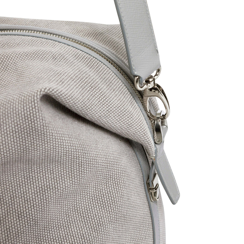 Nando Weekender - Light Grey Canvas & Light Grey Saffiano Leather