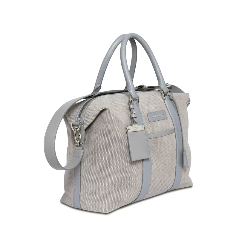 Nando Weekender Small - Grey Canvas & Grey Saffiano Leather