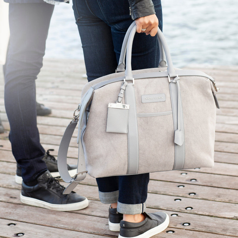Nando Weekender Bag Small - Grey Canvas & Grey Saffiano Leather - Handcrafted in Italy