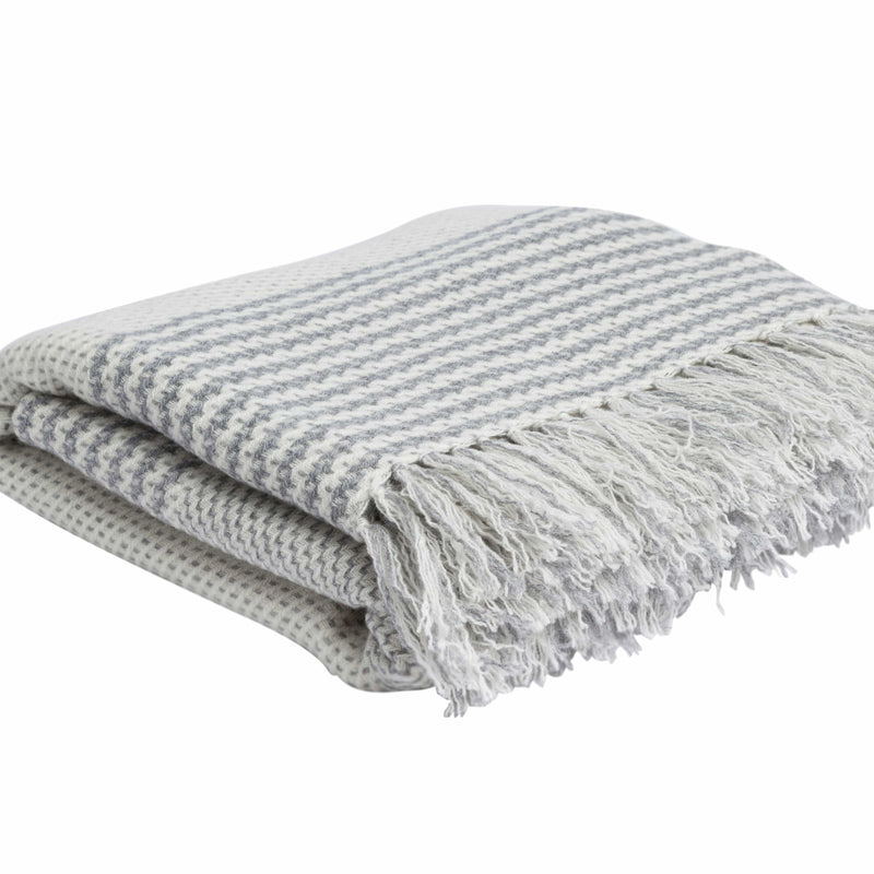 Prince of Wales Throw - White & Grey Hand knotted Cashmere