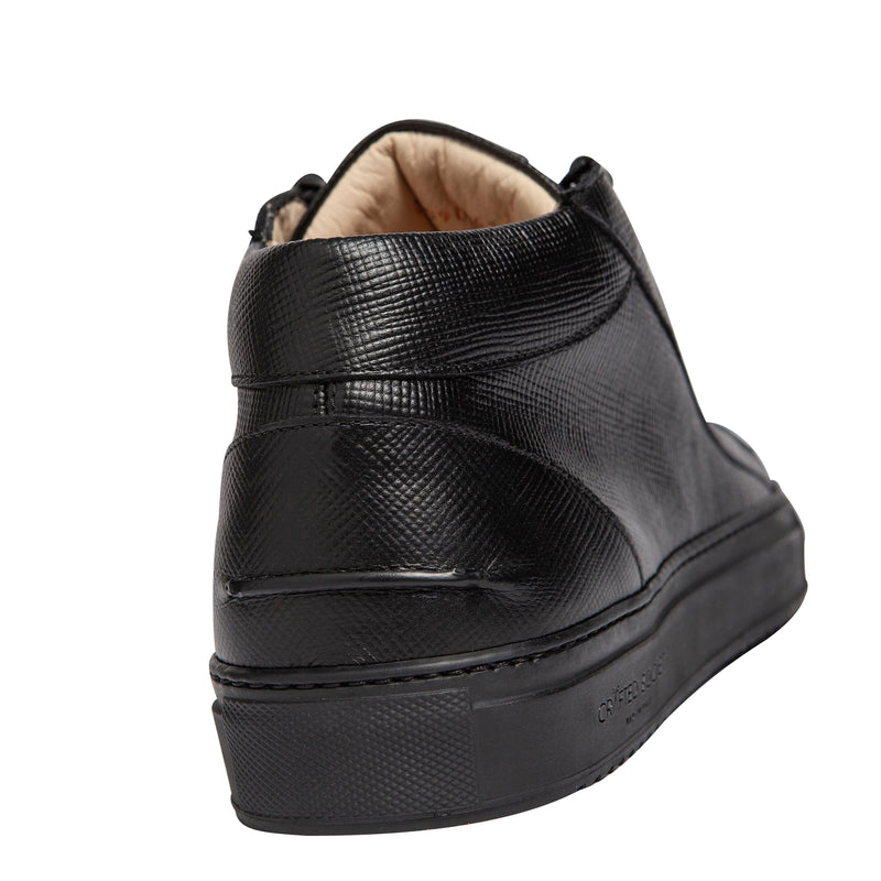 Rico Mid Sneaker Black Saffiano Leather  Black Outsole Backview