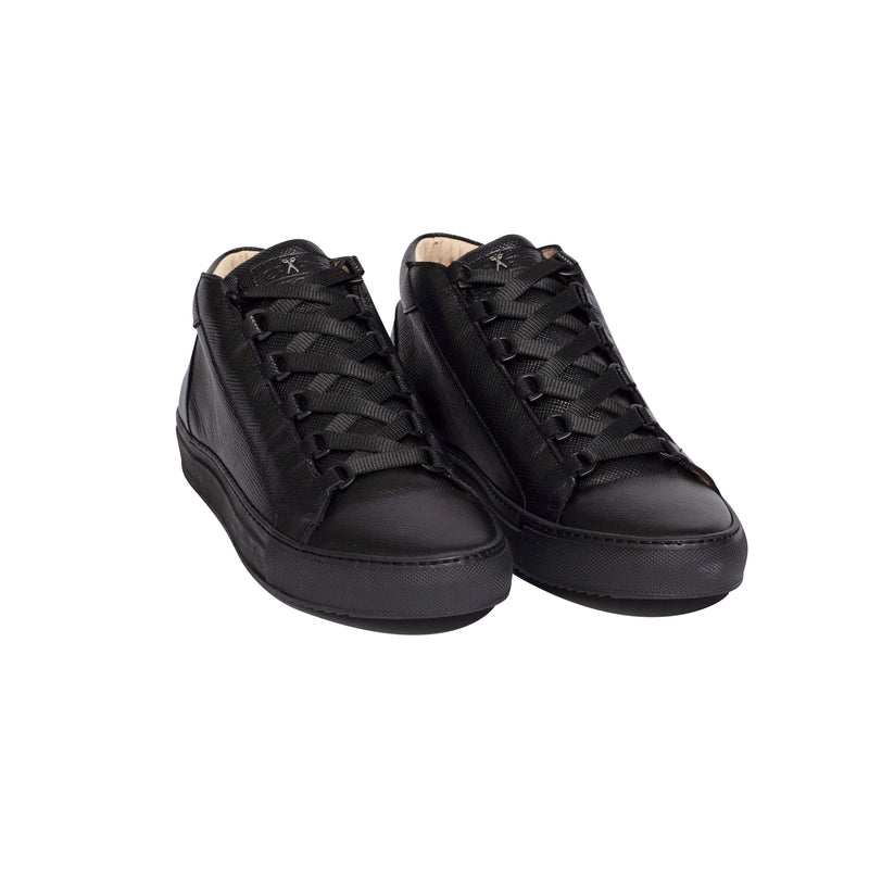 Rico Mid Sneaker Black Saffiano Leather Black Outsole Frontview