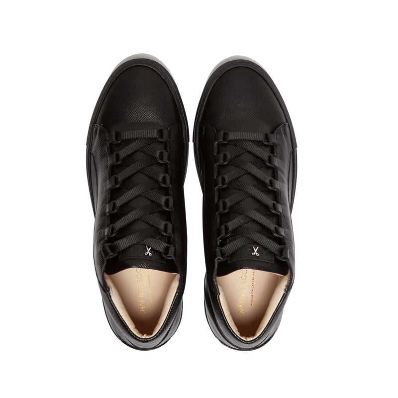 Rico Mid Sneaker Black Saffiano Leather Black Outsole Aboveview