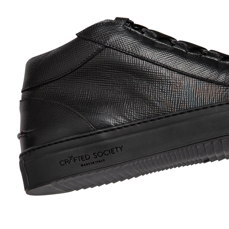 Rico Mid Sneaker Black Saffiano Leather Black Outsole Sideview