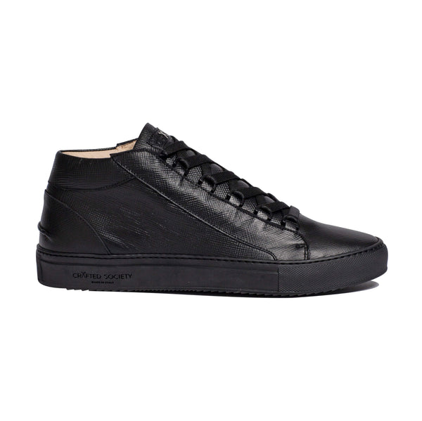 Rico Mid Sneaker - Black Saffiano Leather / Black Outsole
