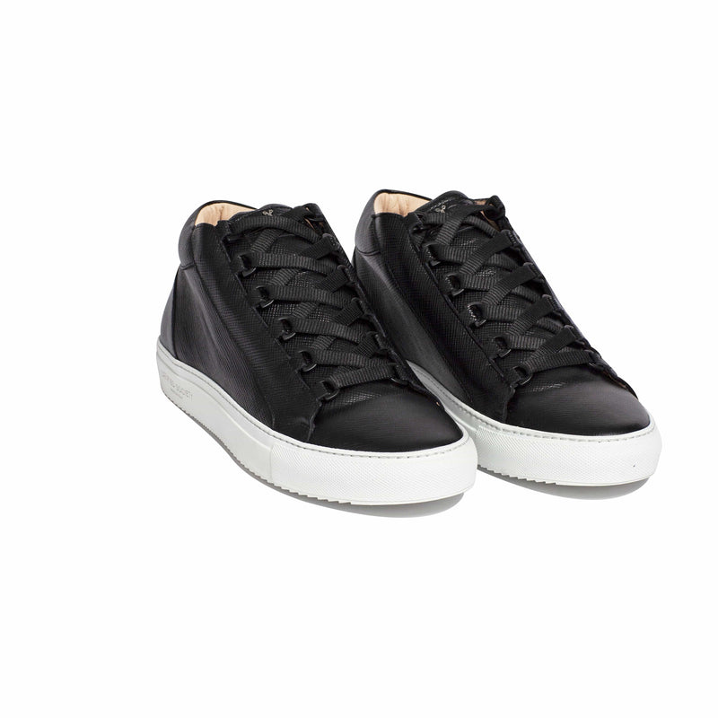 Rico Mid Sneaker Black Saffiano Leather White Outsole Frontview