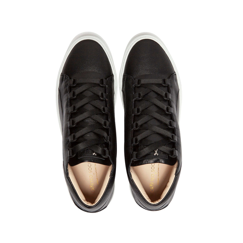 Rico Mid Sneaker Black Saffiano Leather White Outsole Aboveview