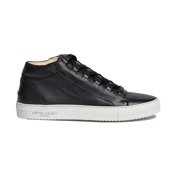 Rico Mid Sneaker - Black Saffiano Leather / White Outsole
