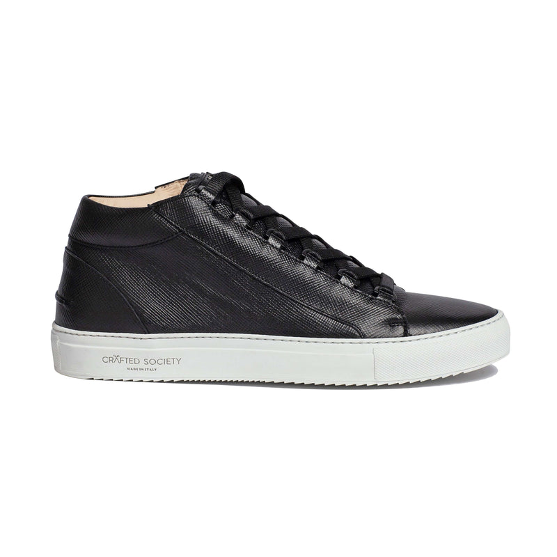 Rico Mid Sneaker Black Saffiano Leather / White Outsole Sideview