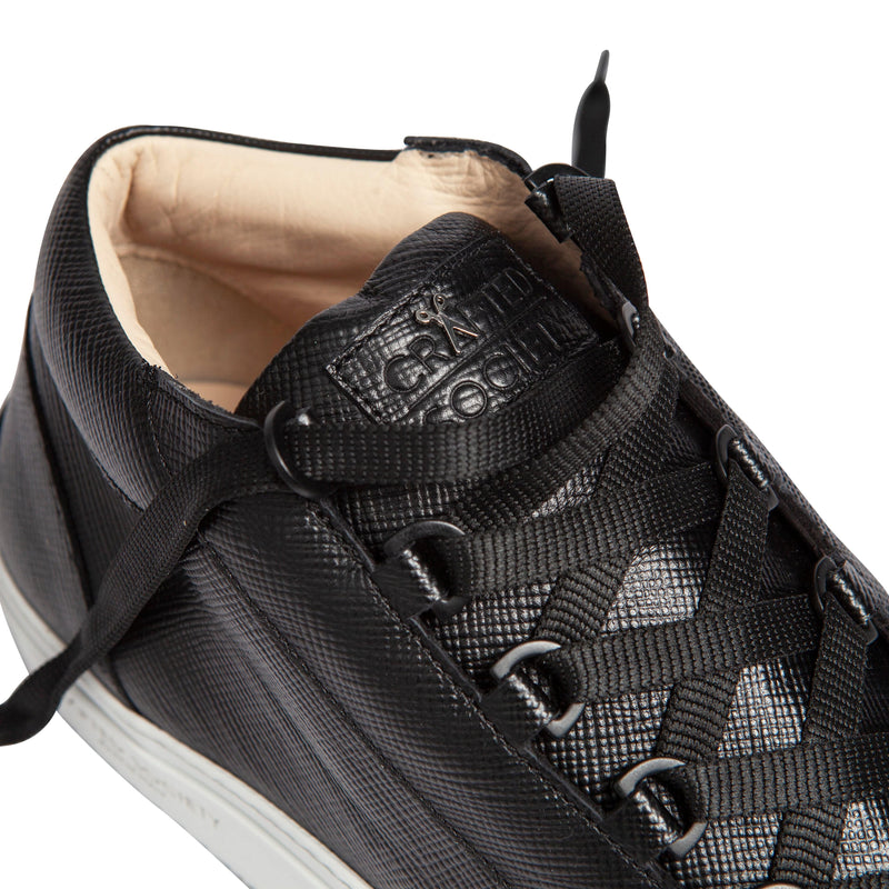 Rico Mid Sneaker Black Saffiano Leather White Outsole Logo detailview