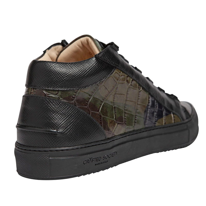 Rico Mid Sneaker - Camo Green & Black Saffiano Leather / Black Outsole