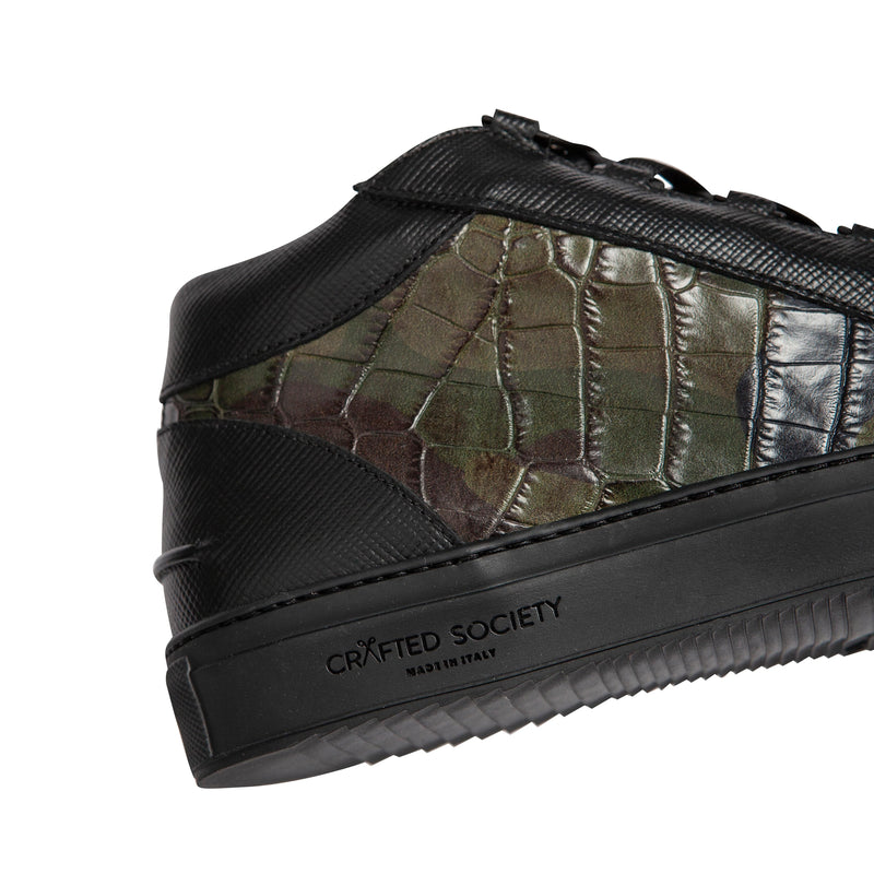 Rico Mid Sneaker Camo Green Black Saffiano Leather Black Outsole Sideview Logodetail