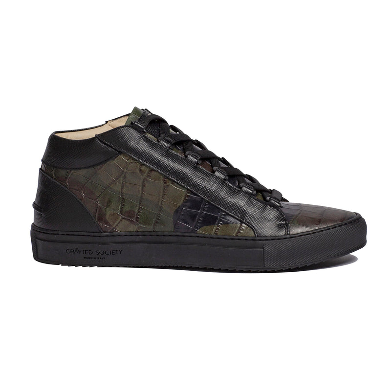Rico Mid Sneaker Camo Green Black Saffiano Leather Black Outsole Sideview