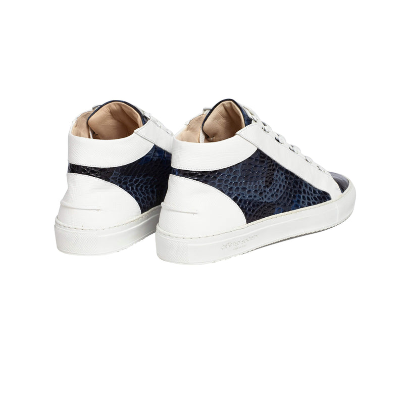 Rico Mid Sneaker White Blue Saffiano Leather Croco Camo White Outsole Backview