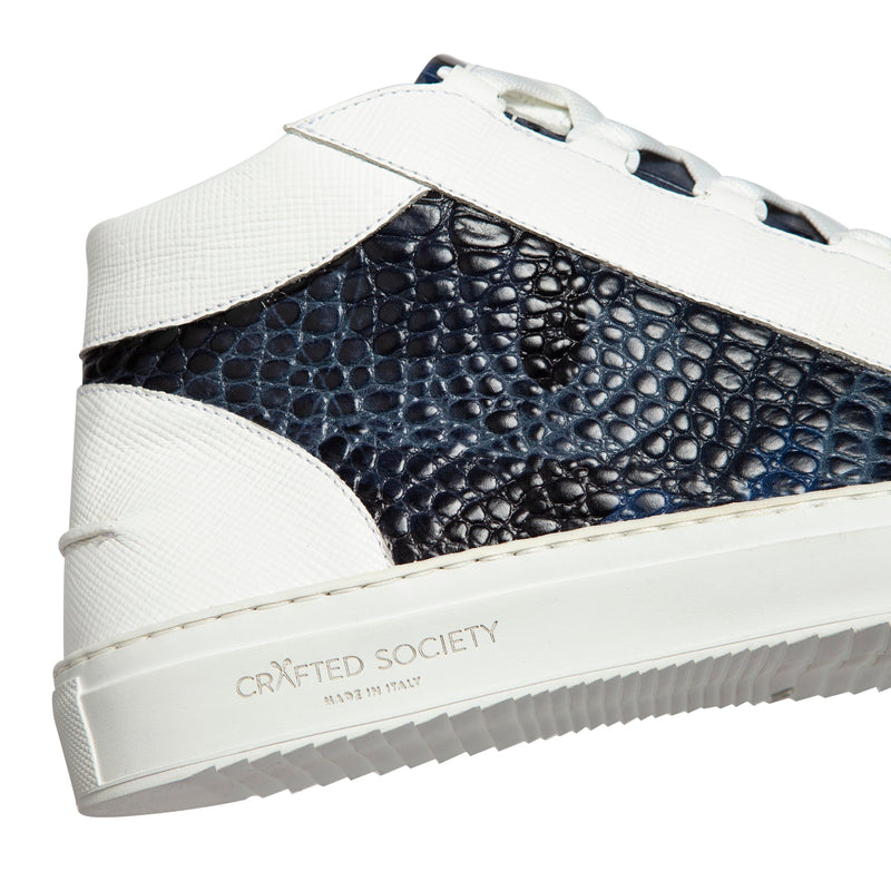 Rico Mid Sneaker White Blue Saffiano Leather Croco Camo White Outsole Sideview Logodetail