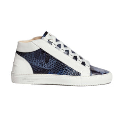 Rico Mid Sneaker White Blue Saffiano Leather Croco Camo White Outsole Sideview