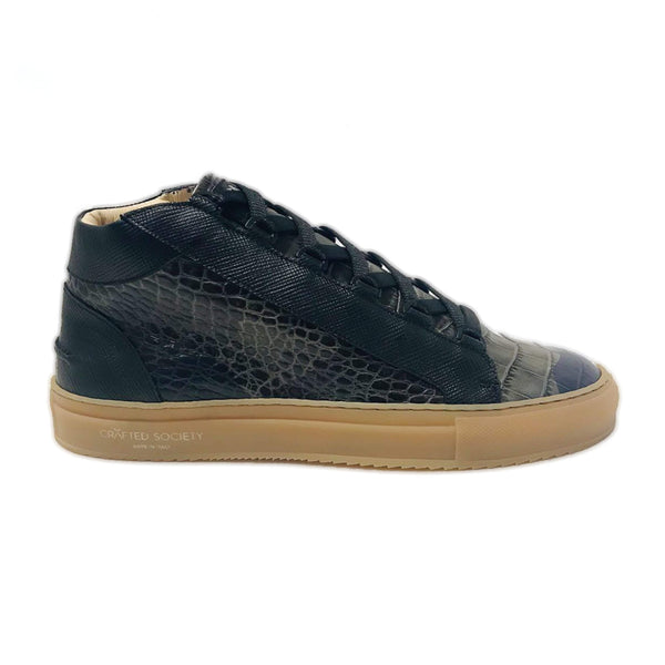 Rico Mid Sneaker Camo Green Saffiano Leather Gum Rubber Outsole Sideview