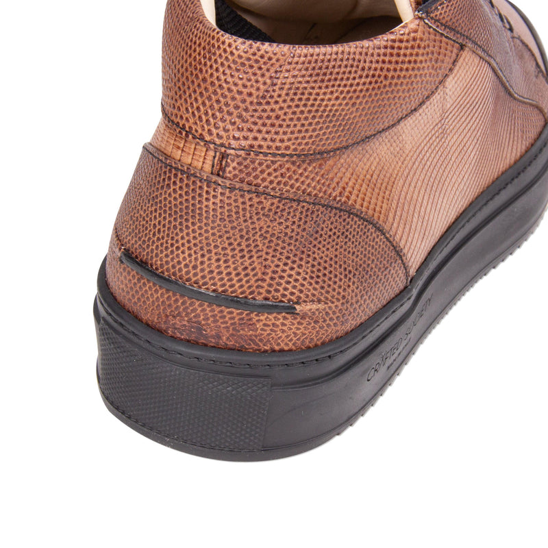 Rico Mid Sneaker Brown Stingray effect leather Black Outsole Backview