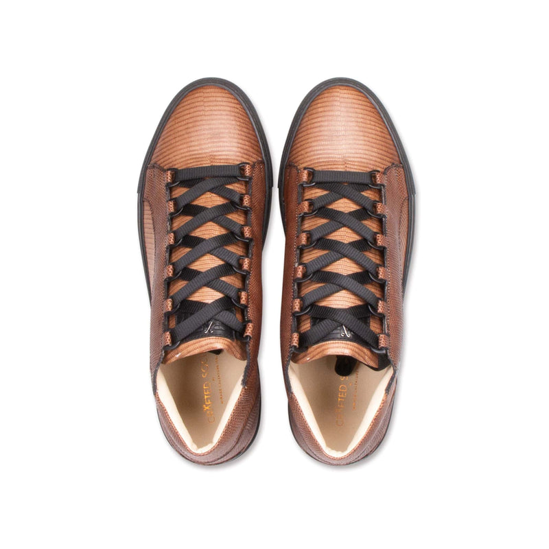 Rico Mid Sneaker Brown Stingray effect leather Black Outsole Aboveview
