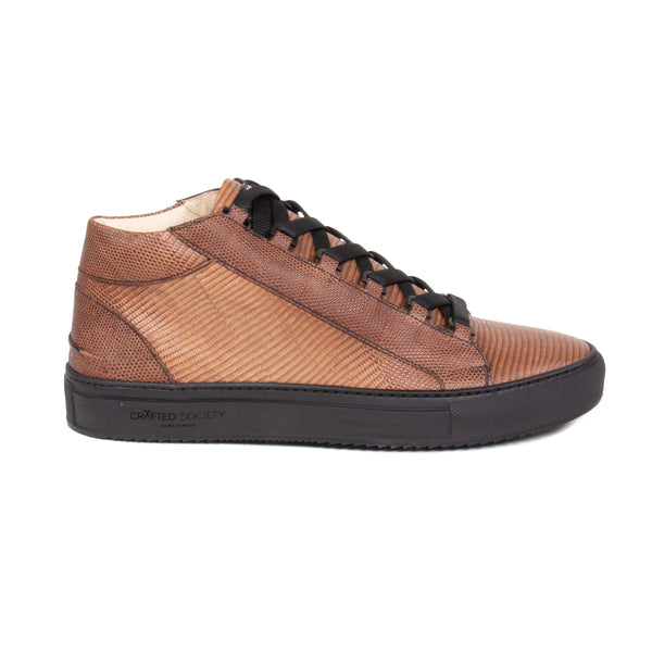 Rico Mid Sneaker Brown Stingray effect leather Black Outsole Sideview