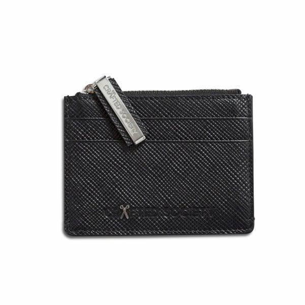 Sauro Cardholder - Black Saffiano Leather - Handcrafted in Italy