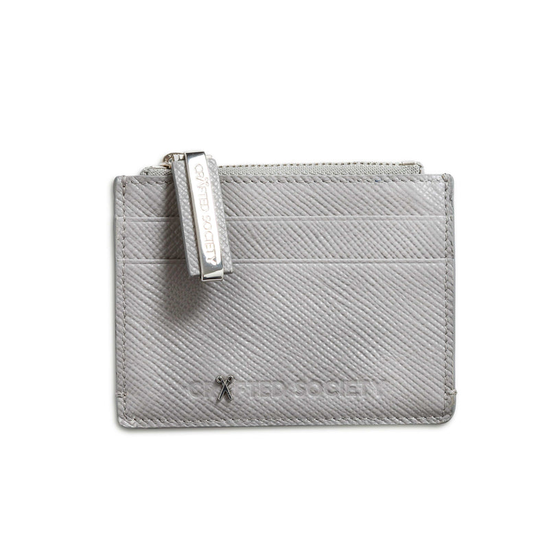 Sauro Cardholder - Light Grey Saffiano Leather