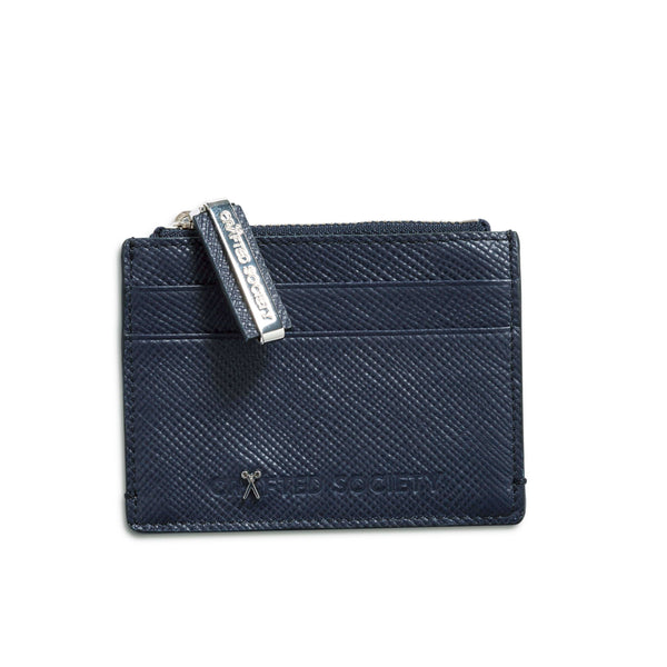 Sauro Cardholder - Navy Saffiano Leather - Handcrafted in Italy