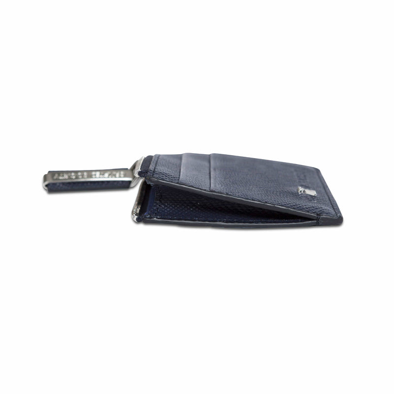 Sauro Cardholder - Navy Saffiano Leather
