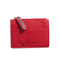 Sauro Cardholder - Ruby Red Saffiano Leather